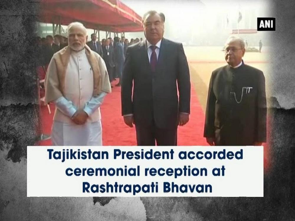 President of Tajikistan Emomali Rahmon, who is on a visit to India, was accorded a ceremonial reception at the President House in the national capital on Saturday. He also paid tribute to Mahatma Gandhi at Rajghat. This is the sixth visit of President Rahmon to India. During his last visit to India in 2012, the two countries elevated their bilateral relations to the level of a long-term strategic partnership.