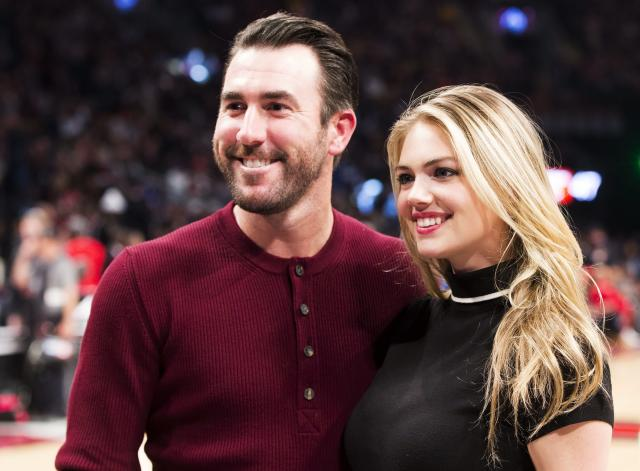 "<a class=""link rapid-noclick-resp"" href=""/mlb/players/7590/"" data-ylk=""slk:Justin Verlander"">Justin Verlander</a> is engaged to supermodel Kate Upton. (AP)"