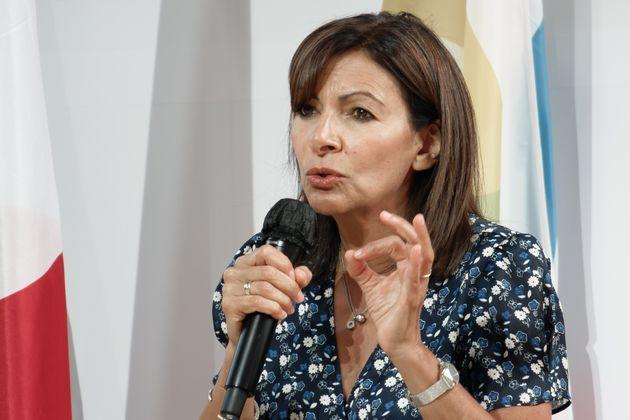 Mayor of Paris Anne Hidalgo speaks during the meeting 'Francophone cities' at the Medef's annual summer meeting 'La Ref 2021' on the Longchamp race course in Paris, France, on August 24, 2021. (Photo by Daniel Pier/NurPhoto via Getty Images) (Photo: NurPhoto via Getty Images)