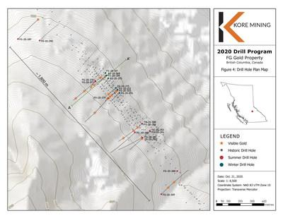 Figure 4 – Drill Hole Plan Map with Visual Gold Intercepts (CNW Group/Kore Mining)