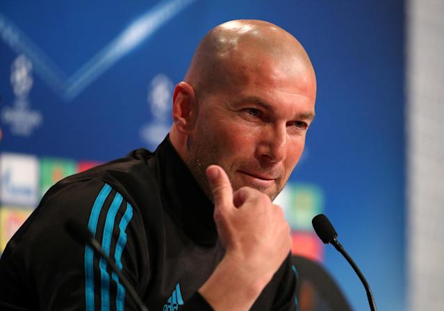 Soccer Football - Champions League - Real Madrid Press Conference - Allianz Arena, Munich, Germany - April 24, 2018 Real Madrid coach Zinedine Zidane during the press conference REUTERS/Michael Dalder