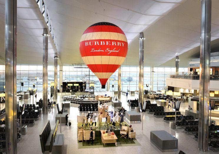 Burberry's pop-up store in London Heathrow airport is a popular destination for travelers waiting for their flights. The installation runs until August 7. (Photo: Courtesy of Burberry)