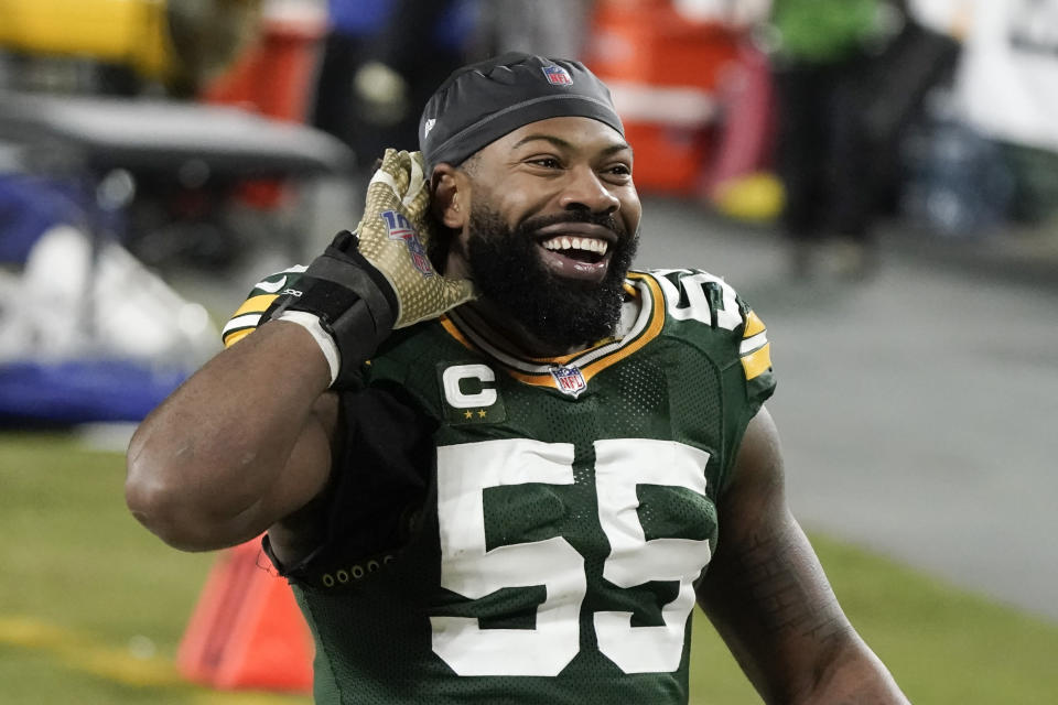 Green Bay Packers' Za'Darius Smith listens to the cheering of fans after an NFL divisional playoff football game Saturday, Jan. 16, 2021, in Green Bay, Wis. The Packers defeated the Rams 32-18 to advance to the NFC championship game. (AP Photo/Morry Gash)