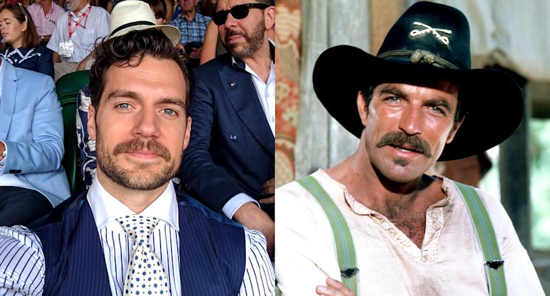 Henry Cavill and Tom Selleck both have impressive facial hair. (Photo: Instagram/Getty Images)