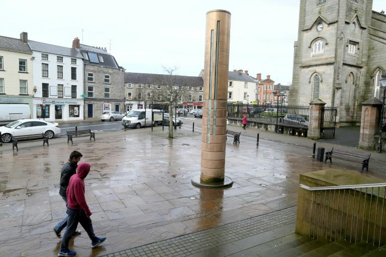 A memorial to victims of the Monaghan bombing stands in the town centre