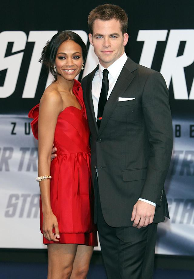 <p><em><em>Saldana had her breakthrough role as Nyota Uhura in the 2009 <em>Star Trek</em> reboot. She and co-star Chris Pine pose at the German premiere on April 16, 2009. (Photo: Franziska Krug/Getty Images) </em></em></p>