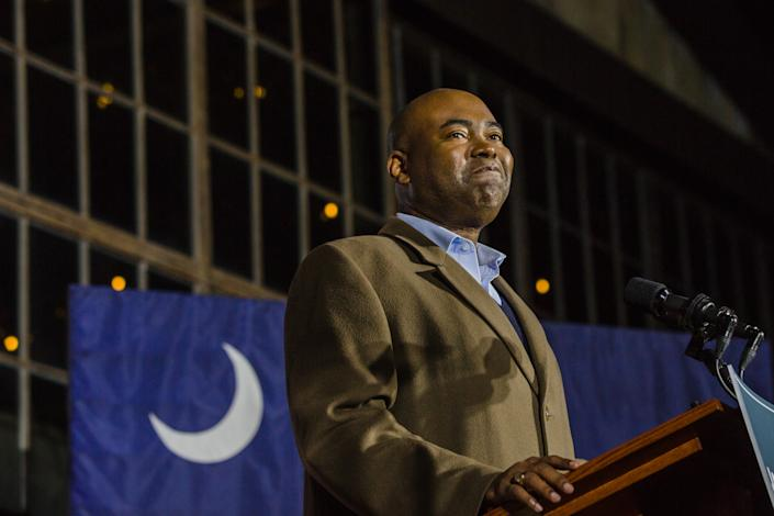 Jaime Harrison, a Democratic U.S. Senate candidate, speaks during an election night party in Columbia, South Carolina, U.S., on Tuesday, Nov. 3, 2020. (Micah Green/Bloomberg via Getty Images)