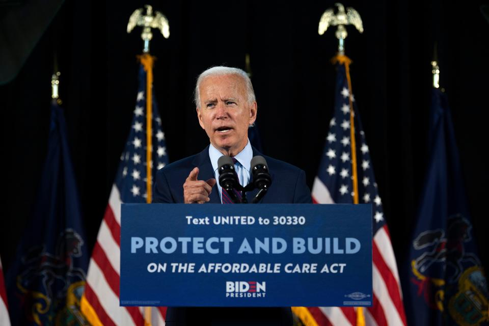 Democratic presidential candidate Joe Biden delivers remarks after meeting with Pennsylvania families who have benefited from the Affordable Care Act on June 25, 2020 in Lancaster, Pennsylvania. - Biden has largely remained off the campaign trail and in his Delaware home since mid-March due to the pandemic, although he has begun participating in small-scale events. (Photo by JIM WATSON / AFP) (Photo by JIM WATSON/AFP via Getty Images)