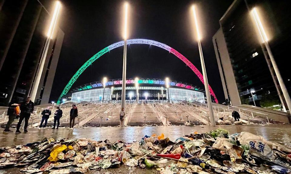 A bitter end: rubbish piled up outside Wembley.