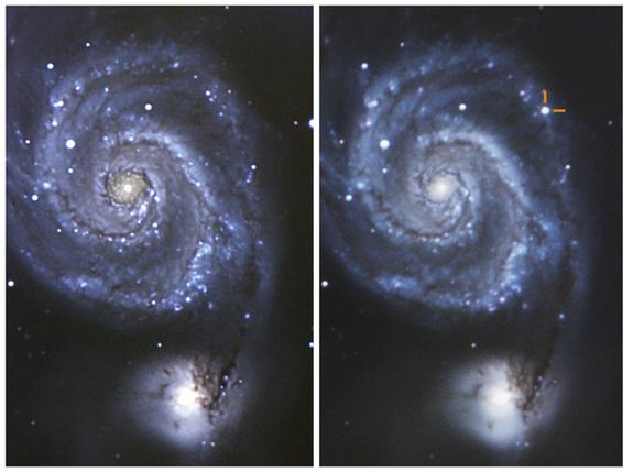 The Whirlpool galaxy (M51) before (left) and after (right) the eruption of supernova SN 2011dh in May 2011. The image on the left was taken in 2009, and on the right July 8th, 2011.