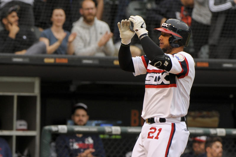 Chicago White Sox's Welington Castillo (21) celebrates his home run against the Detroit Tigers during the sixth inning of a baseball game Sunday, Sept. 29, 2019, in Chicago. (AP Photo/Mark Black)