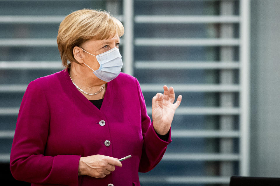 BERLIN, GERMANY - OCTOBER 14: German Chancellor Angela Merkel is pictured during the weekly meeting of the cabinet on October 14, 2020 in Berlin, Germany. (Photo by Florian Gaertner/Photothek via Getty Images)