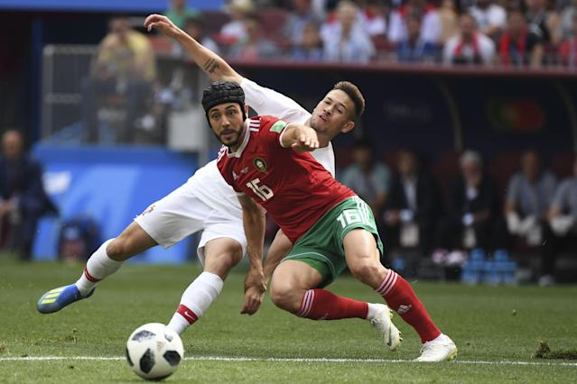 Morocco midfielder Nordin Amrabat played a portion of Wednesday's game against Portugal with a protective helmet after sustaining a concussion against Iran in his first game at the 2018 World Cup. (Getty)