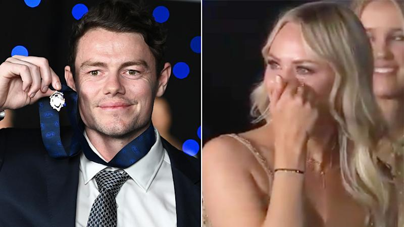 Pictured here, 2020 Brownlow Medallist Lachie Neale and his teary wife Julie.