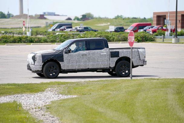 PHOTO: President Joe Biden drives a F150 Lightning electric truck at the Ford Dearborn Development Center in Dearborn, Mich., May 18, 2021. (Evan Vucci/AP)