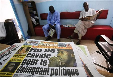 The front page of newspaper, featuring the arrest of Ivorian political leader Ble Goude, is seen in Abidjan