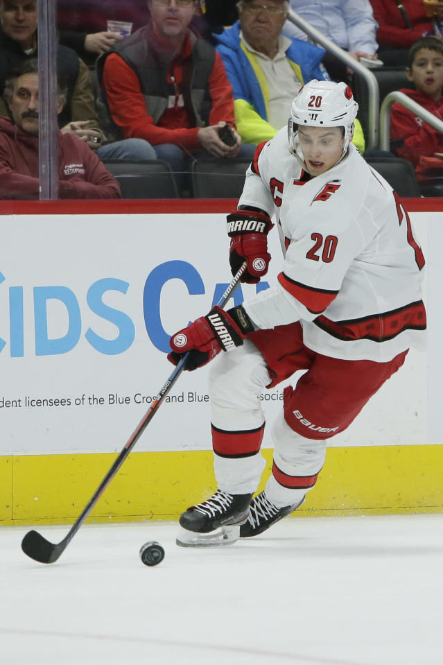 Carolina Hurricanes center Sebastian Aho (20) skates against the Detroit Red Wings during the first period of an NHL hockey game Tuesday, March 10, 2020, in Detroit. (AP Photo/Duane Burleson)