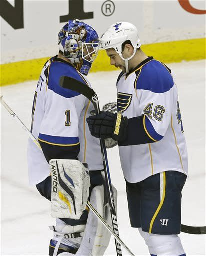 St. Louis Blues' Roman Polak, right, of the Czech Republic, and goalie Brian Elliott celebrate their 2-0 shutout of the Minnesota Wild in an NHL hockey game on Thursday, April 11, 2013 in St. Paul. Polak scored a goal in the first period. (AP Photo/Jim Mone)