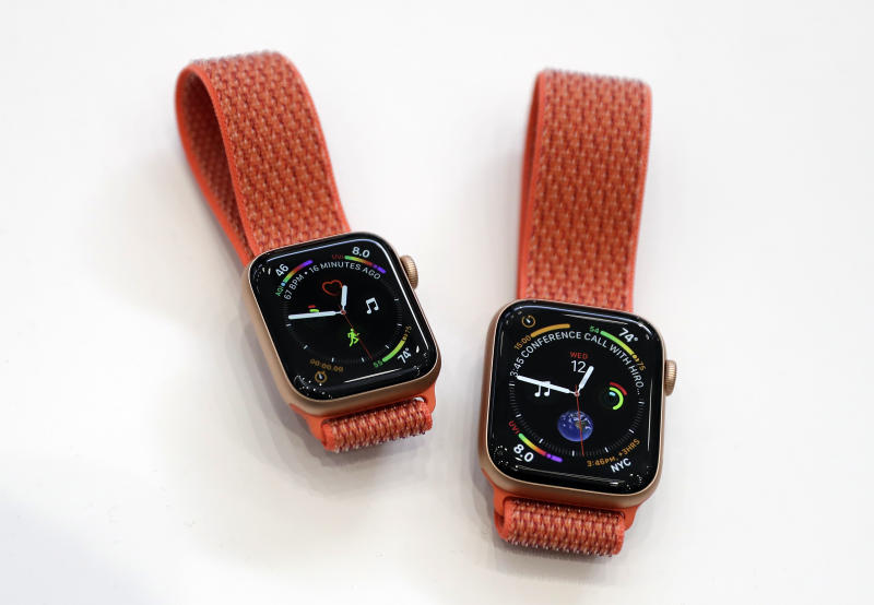 Apple watches are displayed during an event to announce new products at Apple Headquarters Wednesday, Sept. 12, 2018, in Cupertino, Calif. (AP Photo/Marcio Jose Sanchez)