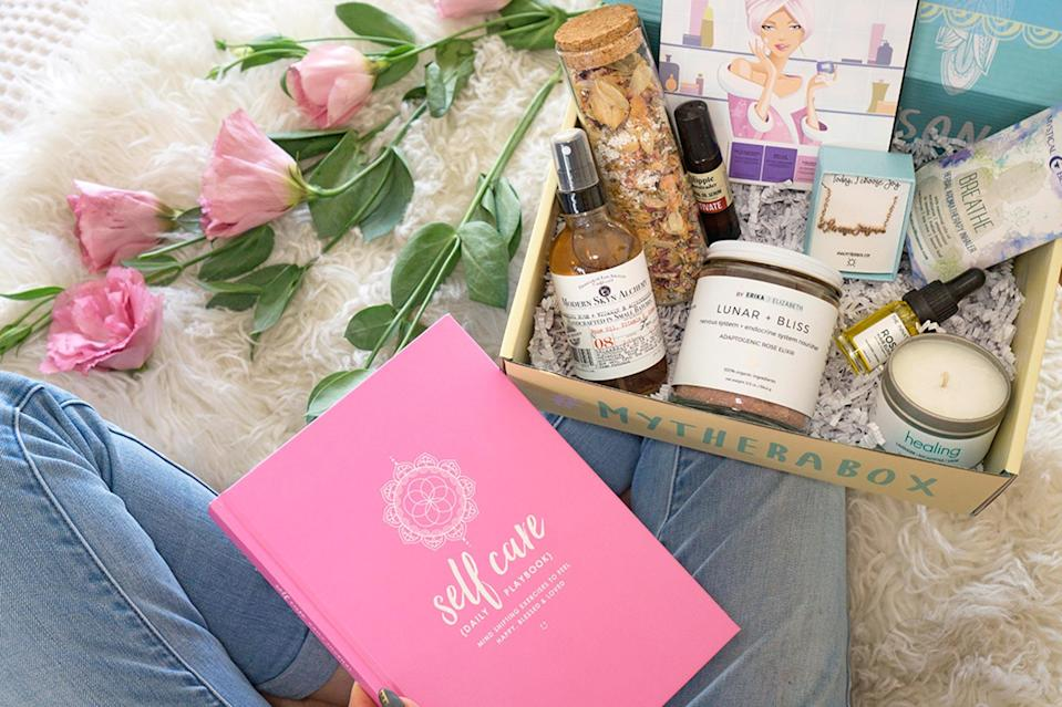 """<p>Treat yoself! Take care of numero uno with a <a href=""""https://www.mytherabox.com/"""" rel=""""nofollow noopener"""" target=""""_blank"""" data-ylk=""""slk:box of goodies"""" class=""""link rapid-noclick-resp"""">box of goodies</a> curated by a therapist and includes items for the mind, body, and soul.</p> <p><strong>$30.99-$34.99 a month, <a href=""""https://www.mytherabox.com/"""" rel=""""nofollow noopener"""" target=""""_blank"""" data-ylk=""""slk:mytherabox.com"""" class=""""link rapid-noclick-resp"""">mytherabox.com</a></strong></p> <p>*Use discount code EW10 for 10% off (expires 12/31/21)</p>"""