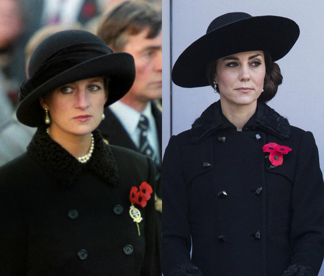 <p>At this years Remembrance Sunday Service Kate drew a striking resemblance to Diana by paying homage to the outfit she wore in 1991. [Photo: PA/ Getty] </p>