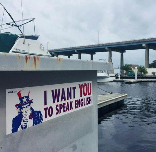 """""""I want YOU to speak English,"""" Uncle Sam says on a poster at North Myrtle Beach in South Carolina -- similar posters have surfaced in several US cities"""