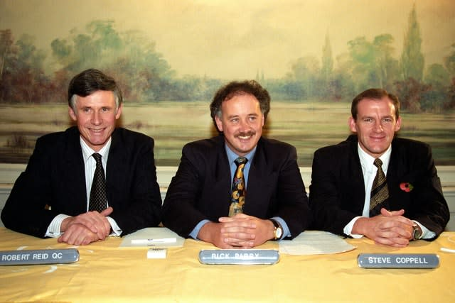 Parry, centre, was the Premier League's first chief executive for six years until 1997