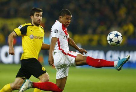 Football Soccer - Borussia Dortmund v AS Monaco - UEFA Champions League Quarter Final First Leg - Signal Iduna Park, Dortmund, Germany - 12/4/17 Monaco's Kylian Mbappe-Lottin in action  Reuters / Ralph Orlowski Livepic