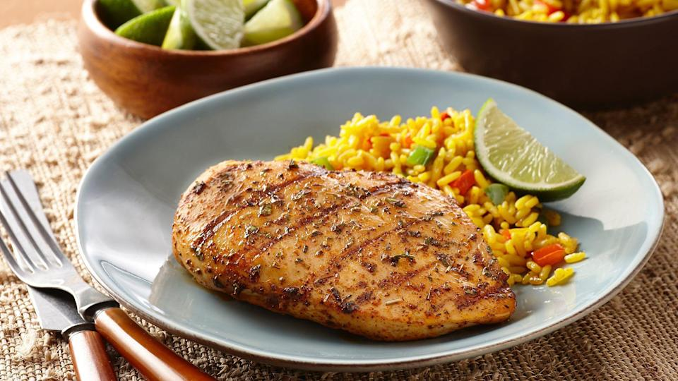 """<p>Southwest chicken is <a href=""""https://www.thedailymeal.com/cook/best-grilling-recipes-steak-chicken-pizza?referrer=yahoo&category=beauty_food&include_utm=1&utm_medium=referral&utm_source=yahoo&utm_campaign=feed"""" rel=""""nofollow noopener"""" target=""""_blank"""" data-ylk=""""slk:one of the best easy grilling recipes"""" class=""""link rapid-noclick-resp"""">one of the best easy grilling recipes</a>. A spice-blended marinade made of chili and garlic powder, Italian seasoning, cumin, cilantro, vinegar and oil gives the chicken a hearty Southwest taste. Pair the chicken with a tasty side, like <a href=""""https://www.thedailymeal.com/cook/creamy-mac-cheese-recipe?referrer=yahoo&category=beauty_food&include_utm=1&utm_medium=referral&utm_source=yahoo&utm_campaign=feed"""" rel=""""nofollow noopener"""" target=""""_blank"""" data-ylk=""""slk:creamy macaroni and cheese"""" class=""""link rapid-noclick-resp"""">creamy macaroni and cheese</a>. </p> <p><a href=""""https://www.thedailymeal.com/southwest-chicken-recipe?referrer=yahoo&category=beauty_food&include_utm=1&utm_medium=referral&utm_source=yahoo&utm_campaign=feed"""" rel=""""nofollow noopener"""" target=""""_blank"""" data-ylk=""""slk:For the Southwest Chicken recipe, click here."""" class=""""link rapid-noclick-resp"""">For the Southwest Chicken recipe, click here. </a></p>"""