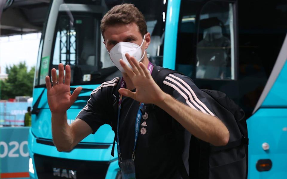 Thomas Mueller of Germany reacts as he arrives at the stadium prior to the UEFA Euro 2020 Championship Group F match between Germany and Hungary - Getty Images