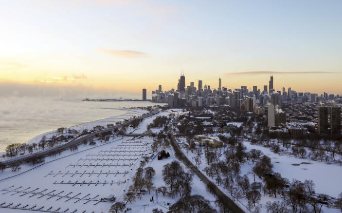 Chicago's lakefront is covered with ice on Jan. 30, 2019. Temperatures are plummeting in Chicago as officials warn against venturing out into the dangerously cold weather. (Photo: Teresa Crawford/AP)