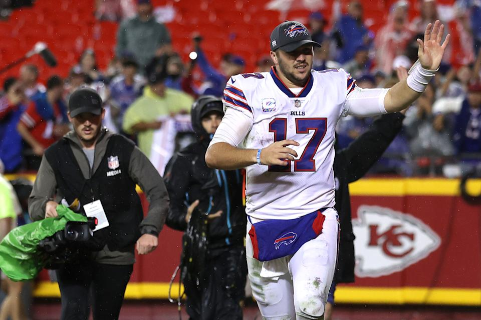Buffalo Bills QB Josh Allen is the new MVP favorite, according to BetMGM's odds. (Photo by Jamie Squire/Getty Images)