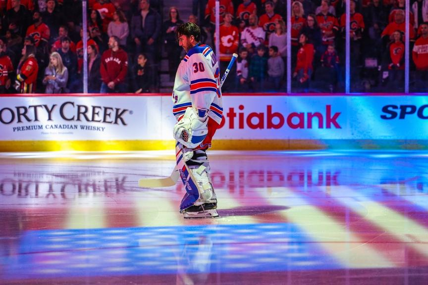 Henrik Lundqvist stands with goalie mask off prior to game