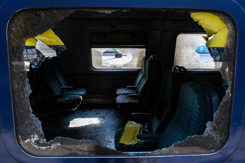A first class train carriage is seen after it was vandalised at the University MTR (Mass Transit Railway) train station, that stops at the Chinese University of Hong Kong (CUHK), in Hong Kong on November 14, 2019. | ANTHONY WALLACE—AFP via Getty Images