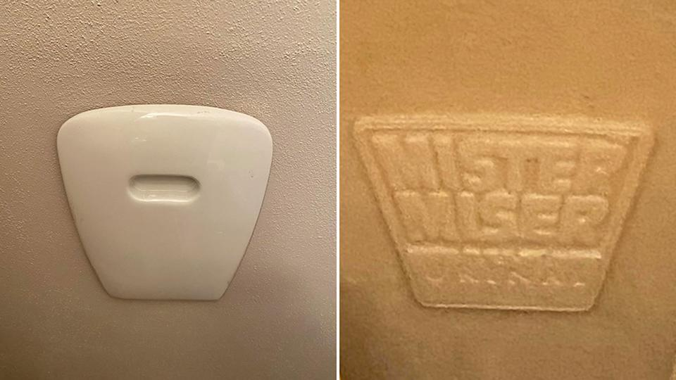 Pictured is the door of the fold-out Mister Miser urinal seen on the wall, and on the right a close-up of the logo.