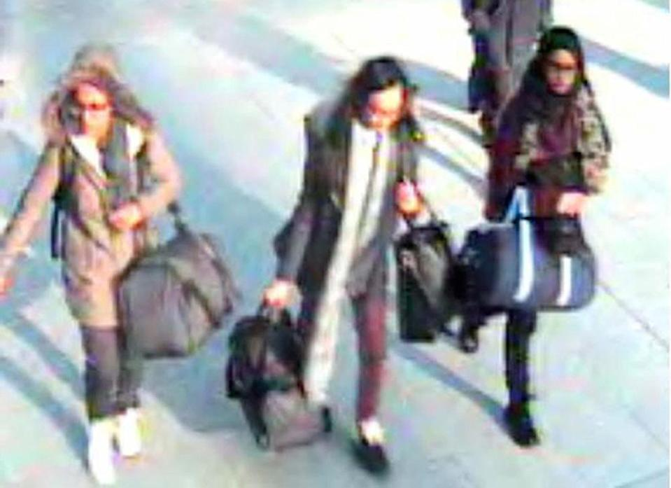 Ms Begum, right, fled the UK to join Isis with two other teenagers, Amira Abase, left, and Kadiza Sultana, centre (Picture: PA)