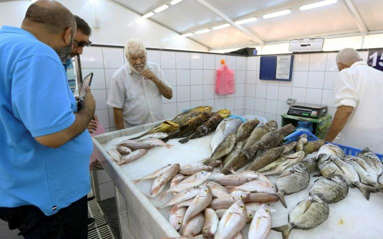 Customers check the catch of the day at the fish market in Tripoli