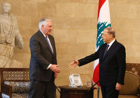 Lebanon's President Michel Aoun meets with U.S. Secretary of State Rex Tillerson at the presidential palace in Baabda, Lebanon February 15, 2018. REUTERS/Mohamed Azakir