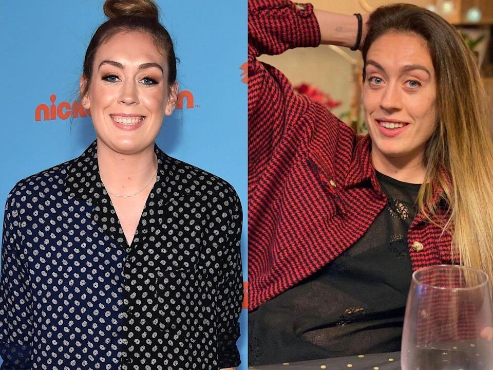 Breanna Stewart with makeup (left) and the athlete without makeup (right).