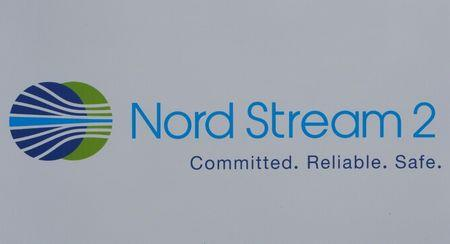 The logo of the Nord Stream-2 gas pipeline project is seen on a board at the SPIEF 2017 in St. Petersburg