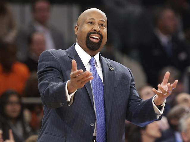 "FILE - In this April 4, 2014 file photo, New York Knicks head coach Mike Woodson reacts to a call during the first half of an NBA basketball game against the Washington Wizards, in New York. The Knicks have fired Woodson after falling from division champions to out of the playoffs in one season. New team president Phil Jackson made the decision Monday, April 21, 2014, saying in a statement ""the time has come for change throughout the franchise."" (AP Photo/Frank Franklin II, File)"