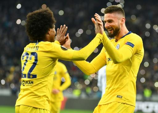 Chelsea's Willian (left) and Olivier Giroud (right) are among those out of contract at the end of June