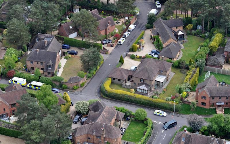 Detectives believe the intruders had been staking out the couple's property in the secluded cul-de-sac in Castlewood, Dorset - Credit: Bliss Aviation/BNPS