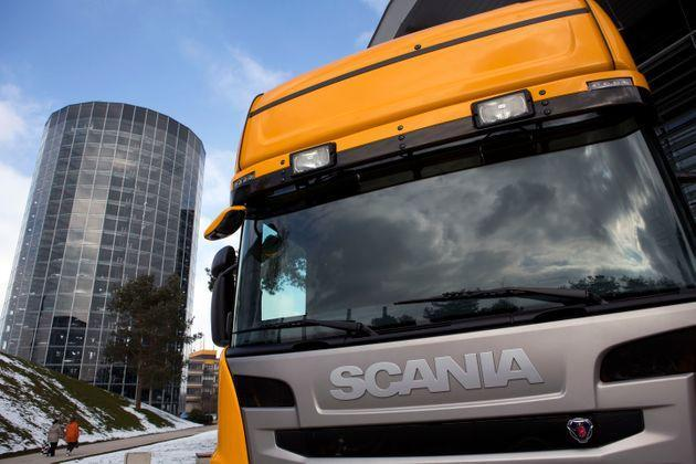 A Scania truck is on display at the German car maker Volkswagen's headquarters on March 14, 2013 in Wolfsburg, northern Germany.      AFP PHOTO / DAVID GANNON        (Photo credit should read DAVID GANNON/AFP via Getty Images) (Photo: DAVID GANNON via Getty Images)