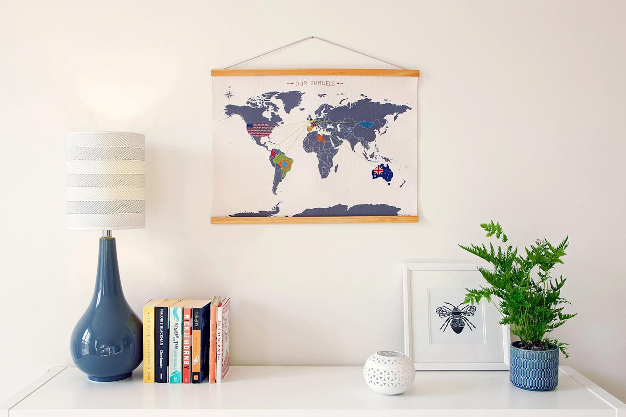 """<p>X marks the spot of on this cross-stitch map by Emma Royston for Suck UK. It comes with four different embroidery thread colors for cool customization, so he can mark where he wants to go any way he'd like.</p><p><strong><em>Shop Now: </em></strong><em>SUCK UK Mini Cross-Stitch World Map, $21.49, </em><a href=""""https://www.amazon.com/Suck-UK-Stitch-Embroidery-Hanging/dp/B07RQ1Z3MZ/ref=as_li_ss_tl?ie=UTF8&amp;linkCode=ll1&amp;tag=mslholgggiftsthatwillhelpyouspoilguysnov19-20&amp;linkId=4223a29f32a7cc6de45a2c460d22eb07&amp;language=en_US""""><em>amazon.com</em></a><em>.</em></p>"""