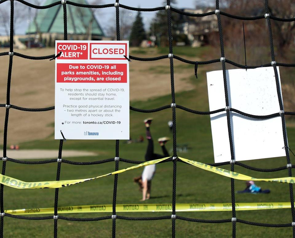 """<span class=""""caption"""">For many people, park and playground closures during COVID-19 meant having even fewer exercise options.</span> <span class=""""attribution""""><span class=""""source"""">THE CANADIAN PRESS/Colin Perkel </span></span>"""