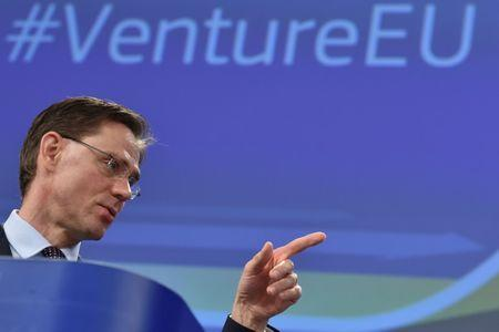 FILE PHOTO: EC Vice-President Katainen attends a news conference on the launch of VentureEU in Brussels