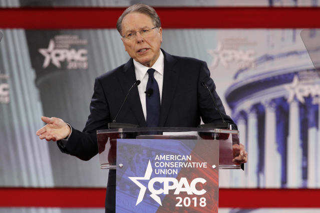 Feb. 22, 2018 file photo. National Rifle Association Executive Vice President and CEO Wayne LaPierre, speaks at the Conservative Political Action Conference (CPAC), at National Harbor, Md. (AP Photo/Jacquelyn Martin, File)