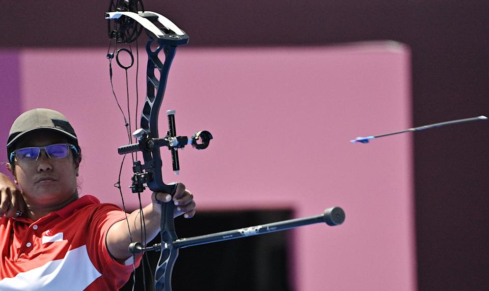 Singapore archer Syahidah Alim competing in the women's individual compound open elimination round at the 2020 Tokyo Paralympics. (PHOTO: Sport Singapore)