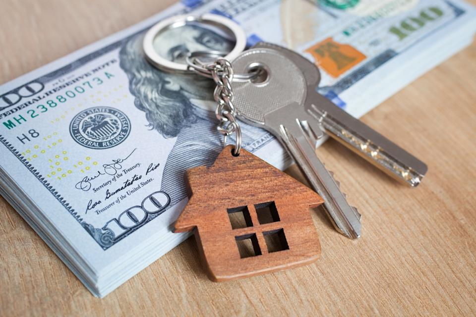rent money with keys on top